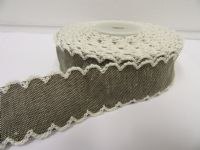 *2 metres or 10 metre Roll 25mm Vintage Scalloped Edge Flower Ribbon Cotton